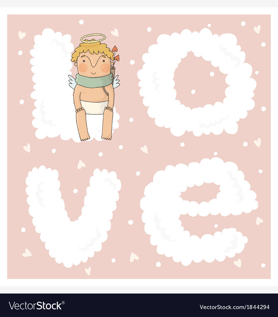 Card for valentine day with cute cupids in vector | Price: 1 Credit (USD $1)