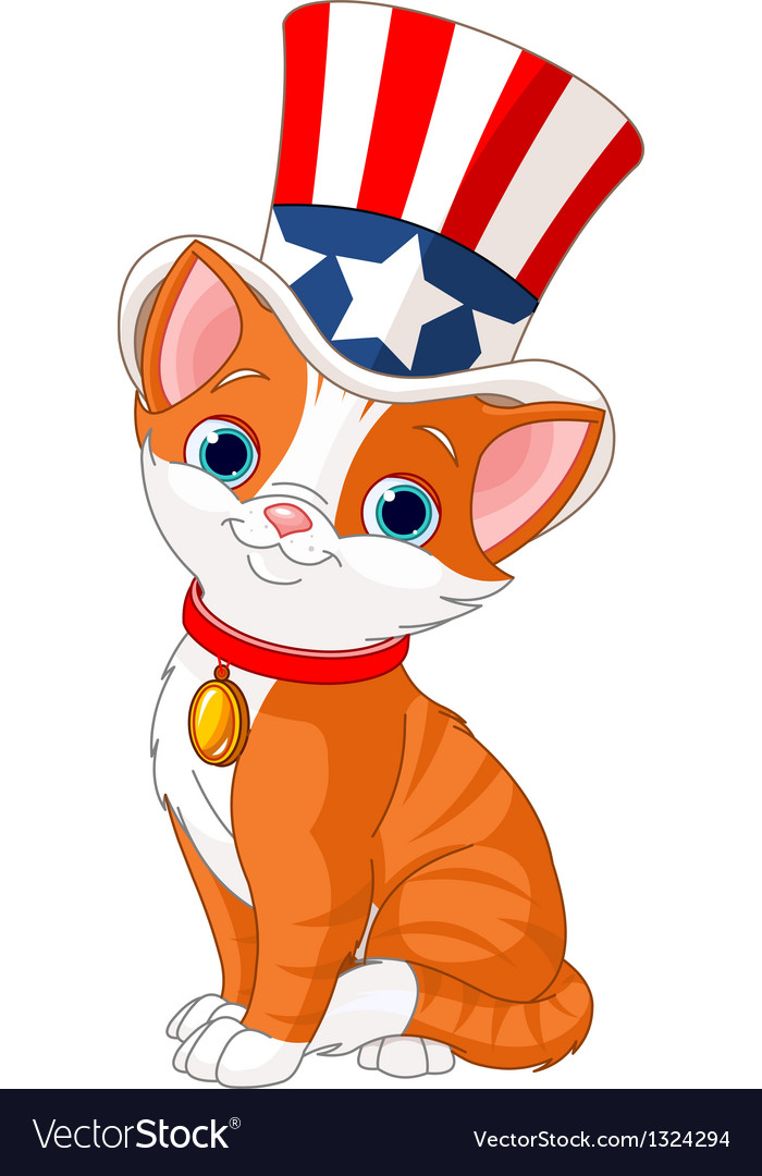 Fourth of july kitten vector | Price: 3 Credit (USD $3)