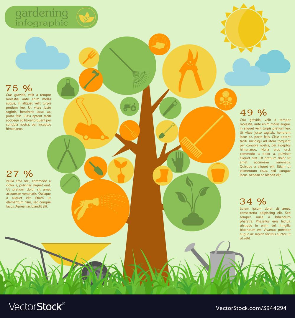 Garden work infographic elements working tools set vector   Price: 1 Credit (USD $1)