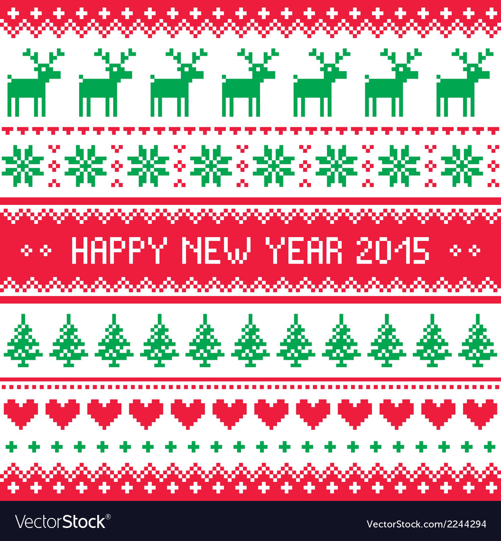 Happy new year 2015 - scandinavian winter pattern vector | Price: 1 Credit (USD $1)