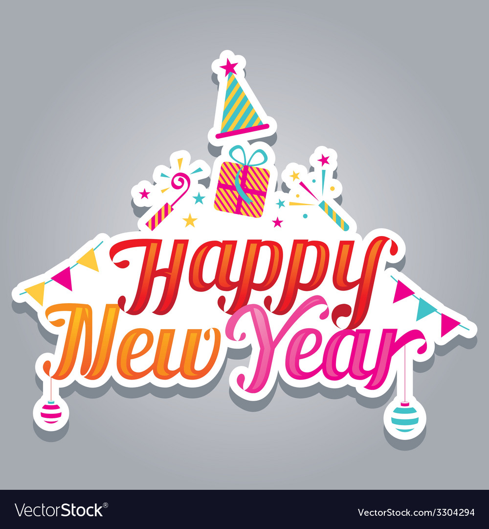 Happy new year text with party icons vector | Price: 1 Credit (USD $1)