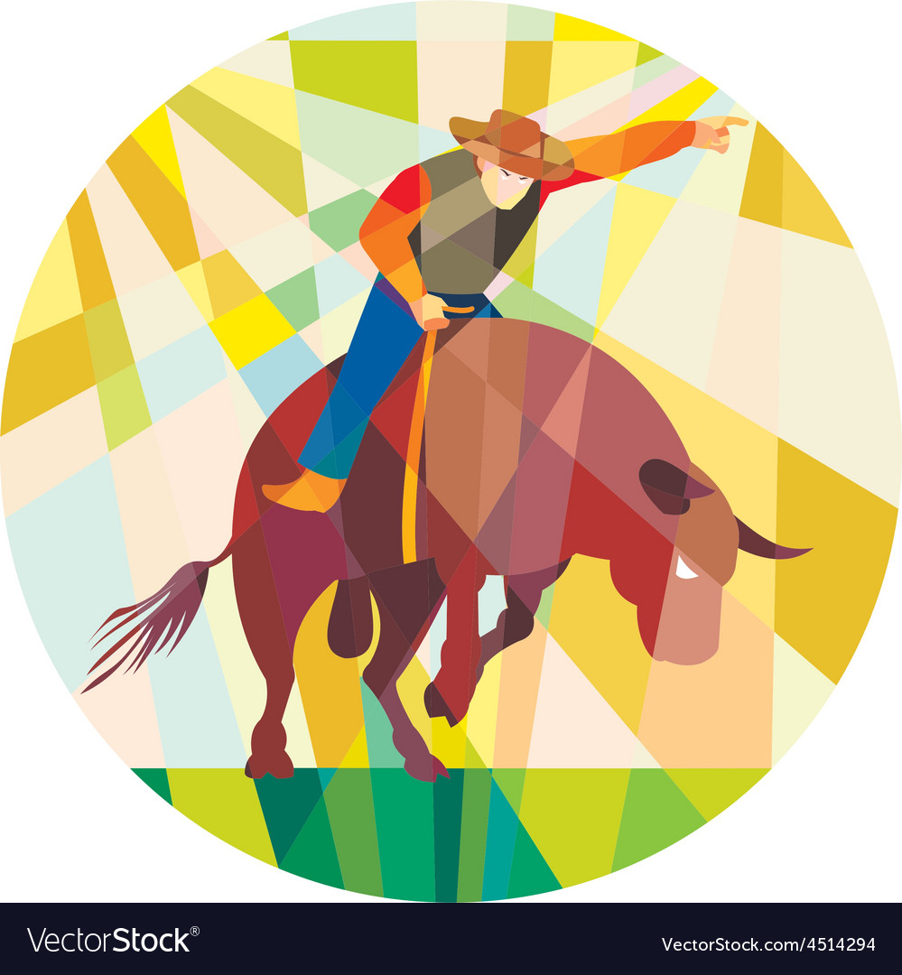Rodeo cowboy bull riding pointing low polygon vector | Price: 1 Credit (USD $1)