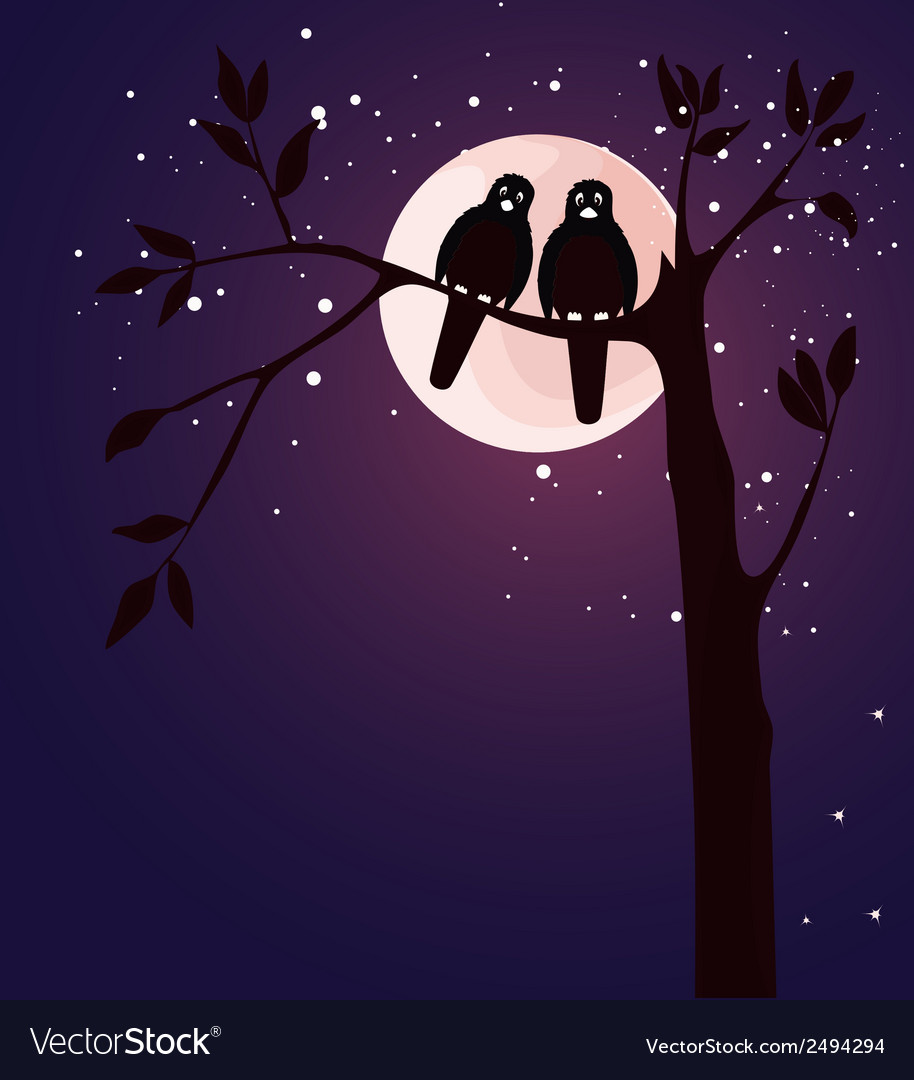 Romantic card with birds vector | Price: 1 Credit (USD $1)