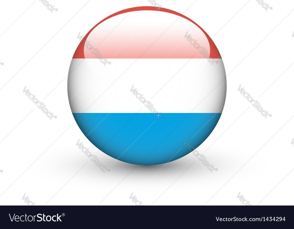 Round icon with national flag of luxembourg vector | Price: 1 Credit (USD $1)