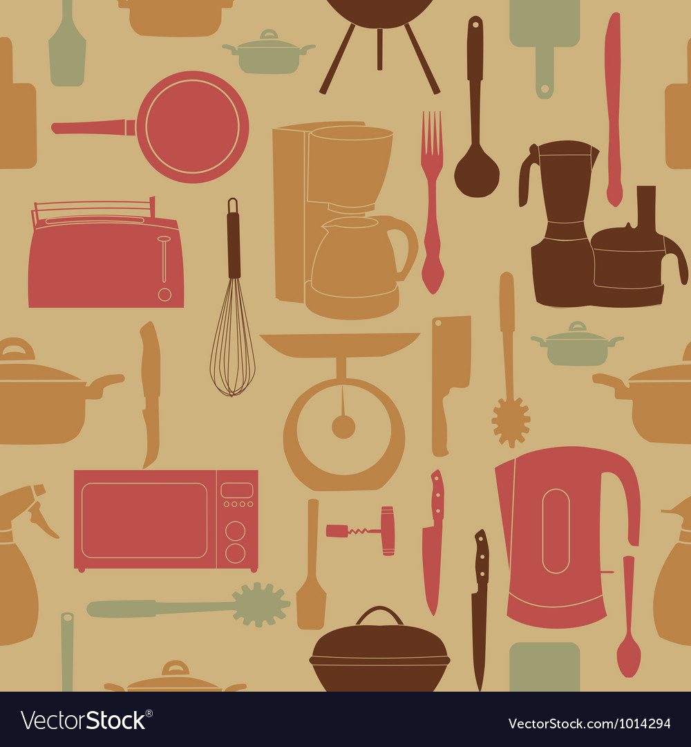 Seamless pattern of kitchen tools for cookin vector | Price: 1 Credit (USD $1)