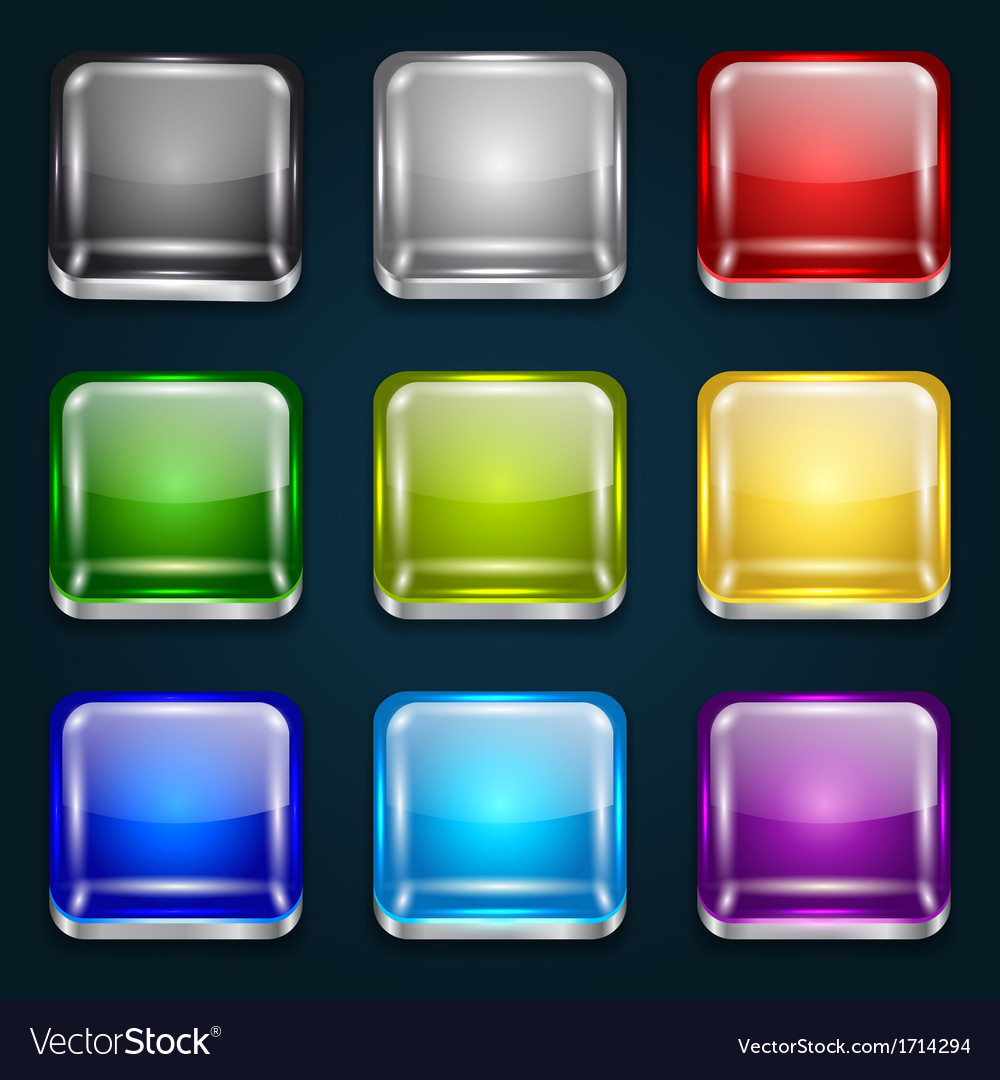 Set of glossy button icons vector   Price: 1 Credit (USD $1)