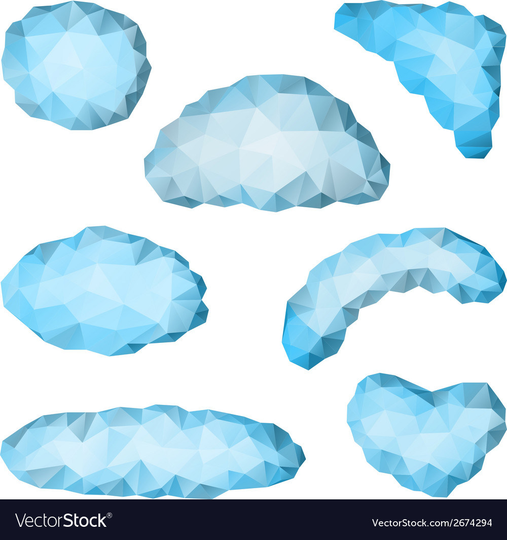 Set of triangular clouds vector | Price: 1 Credit (USD $1)