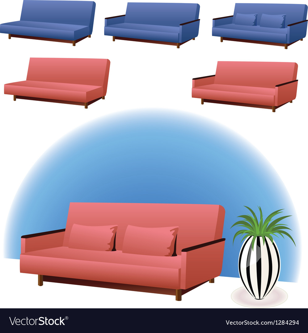 Sofa pink and blue vector | Price: 1 Credit (USD $1)