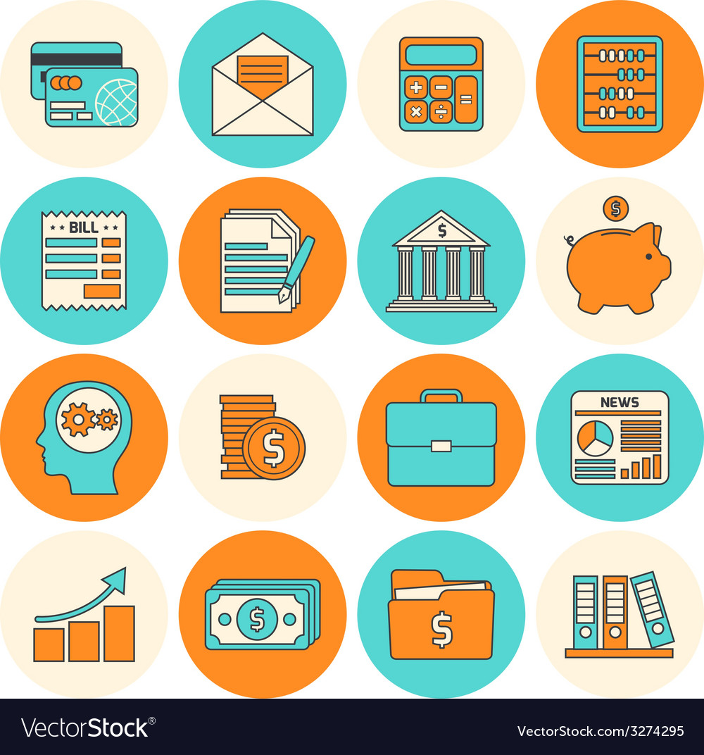Accounting icons set flat line vector | Price: 1 Credit (USD $1)