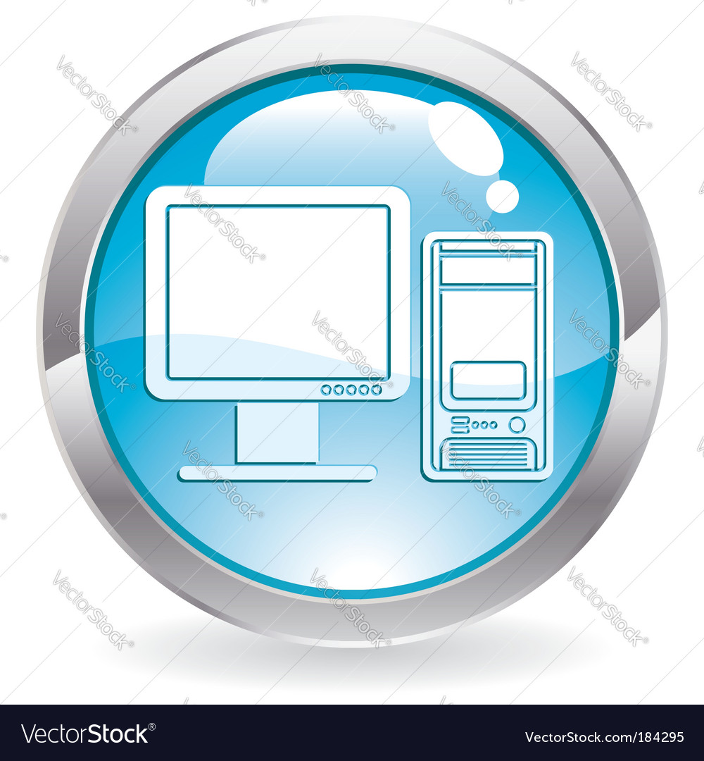 Button with computer vector | Price: 1 Credit (USD $1)