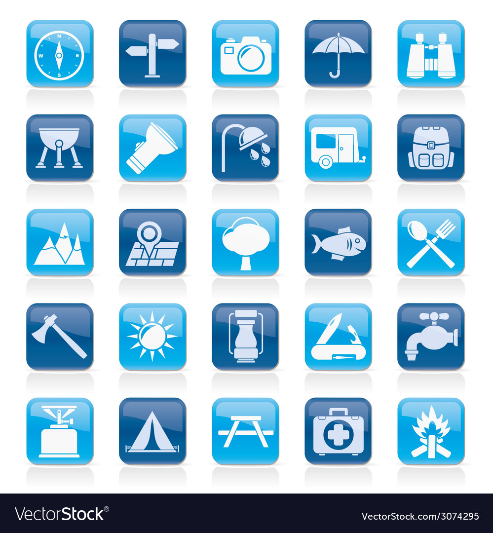 Camping and tourism icons vector   Price: 1 Credit (USD $1)