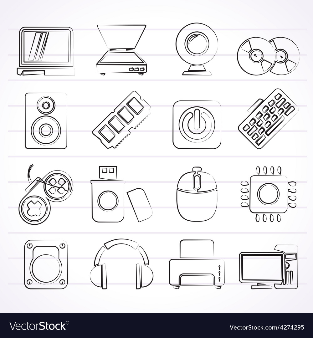 Computer parts and devices icons vector | Price: 1 Credit (USD $1)