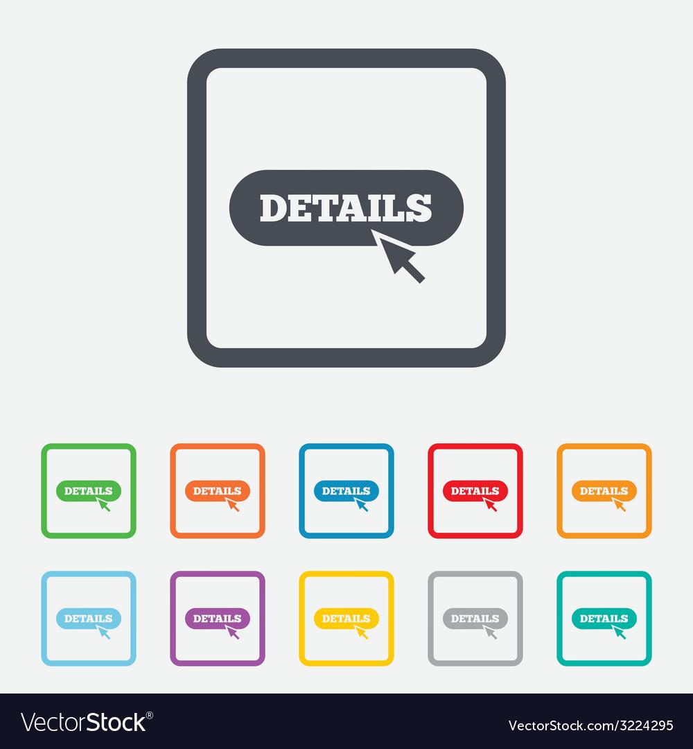 Details with cursor pointer icon more symbol vector | Price: 1 Credit (USD $1)