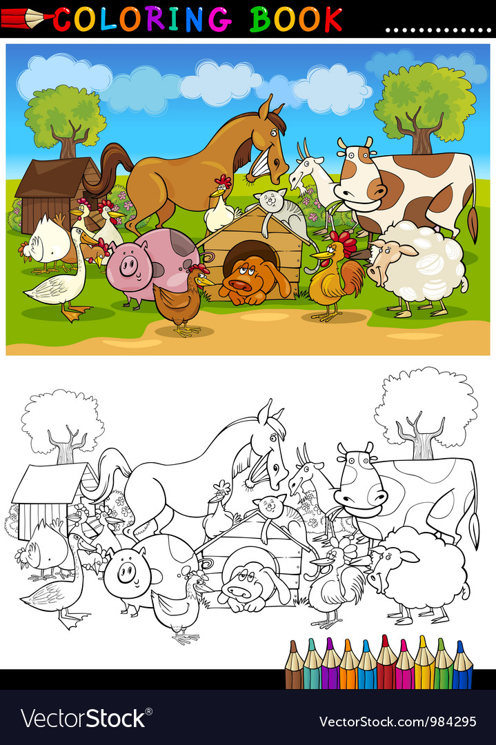 Farm and livestock animals for coloring vector | Price: 3 Credit (USD $3)
