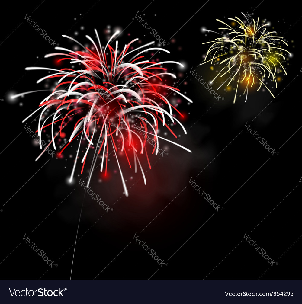 Fireworks in the night sky vector | Price: 1 Credit (USD $1)