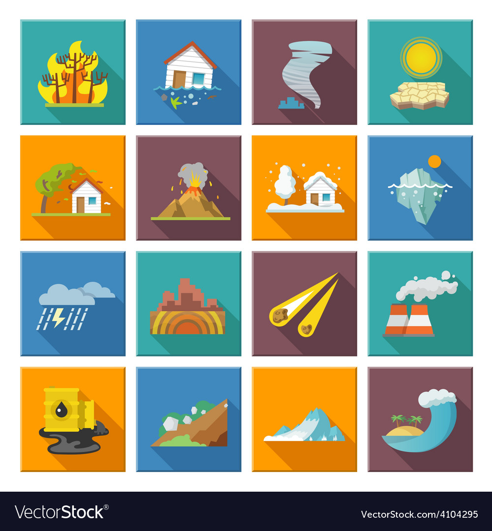 Natural disaster icons vector | Price: 1 Credit (USD $1)