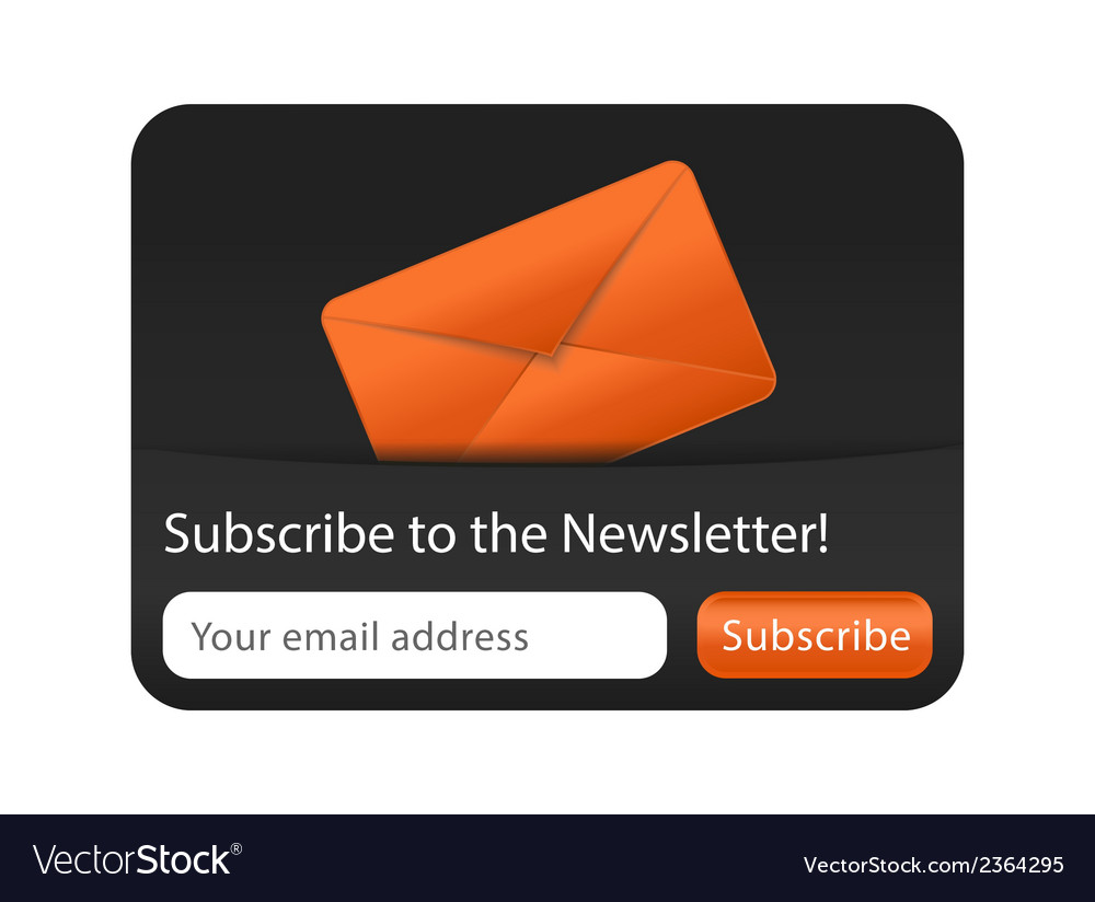 Newsletter form with orange envelope vector | Price: 1 Credit (USD $1)