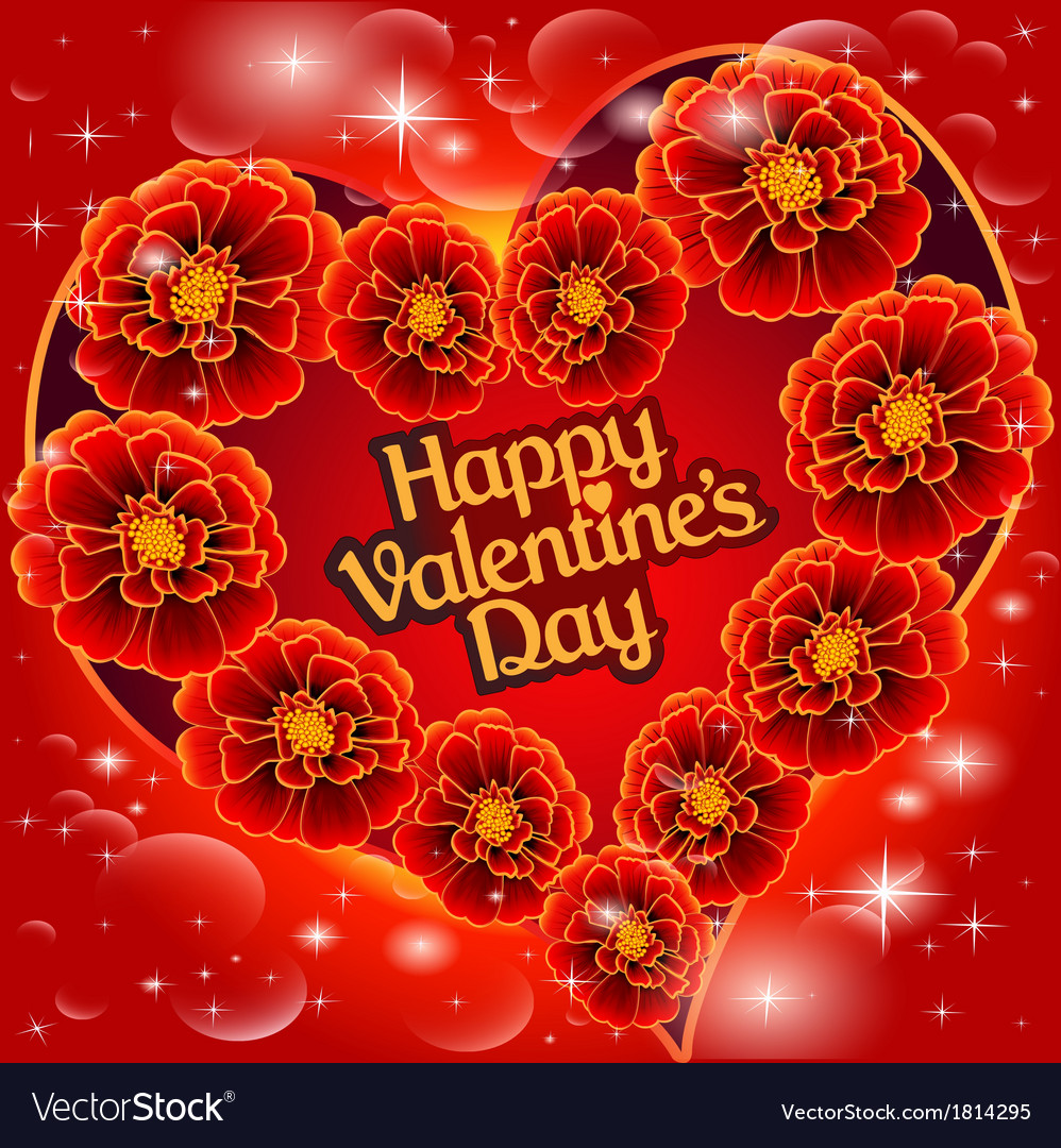 Postcard on valentines day with the heart vector | Price: 1 Credit (USD $1)
