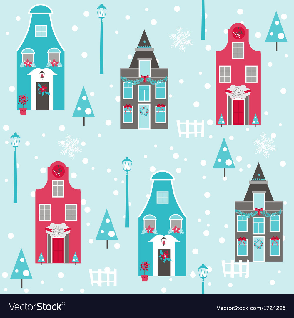 Seamless christmas house background vector | Price: 1 Credit (USD $1)
