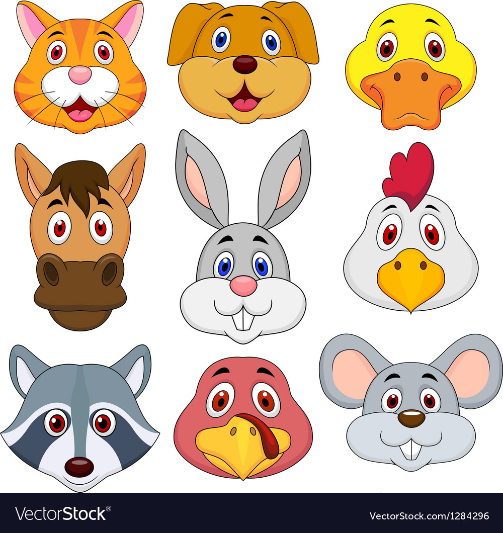 Animal head cartoon set vector | Price: 3 Credit (USD $3)