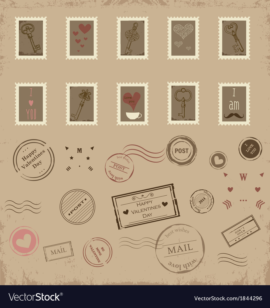Collection of vintage post stamps vector | Price: 1 Credit (USD $1)