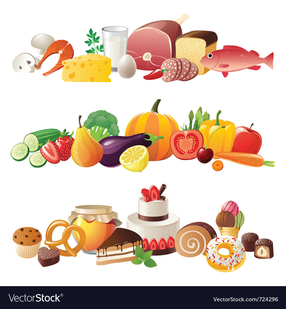 Detailed food borders vector | Price: 5 Credit (USD $5)