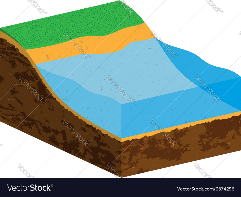 Earth cross section with water source vector | Price: 1 Credit (USD $1)
