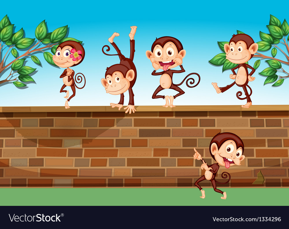 Five monkeys playing at the fence vector | Price: 1 Credit (USD $1)