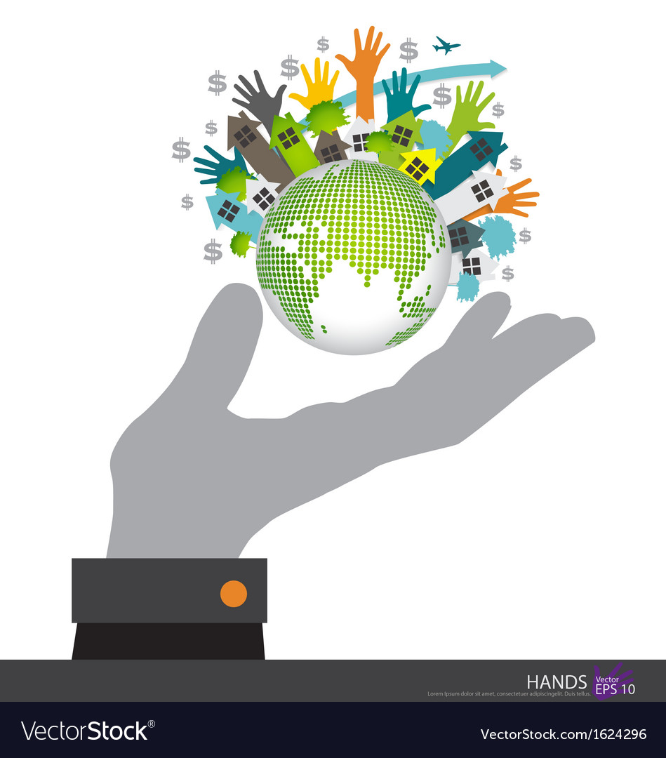 Hand holding the earth vector | Price: 1 Credit (USD $1)