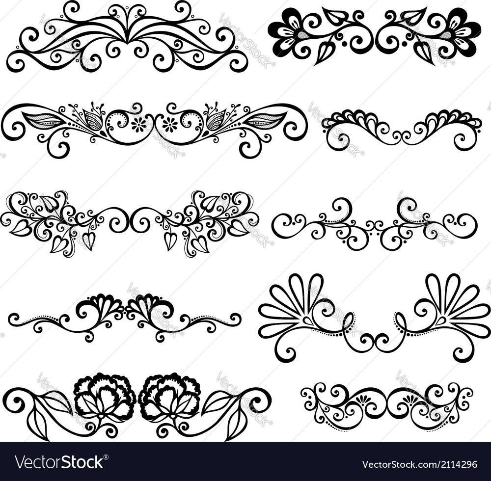 Set of calligraphic borders vector   Price: 1 Credit (USD $1)