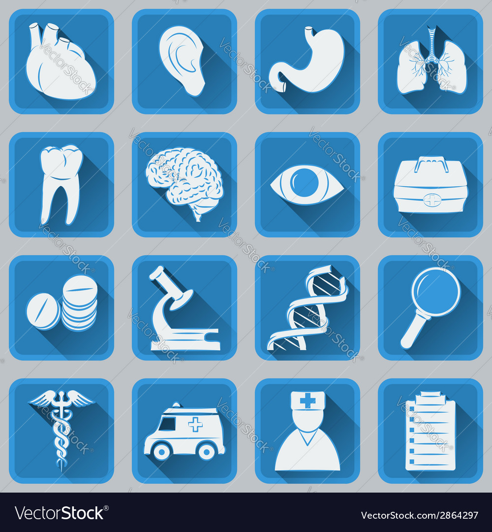 A set of flat square icons on medical subjects vector | Price: 1 Credit (USD $1)
