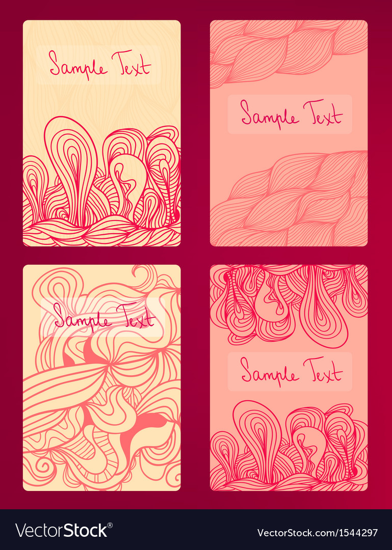 Beautiful cards with doodle drawings vector | Price: 1 Credit (USD $1)