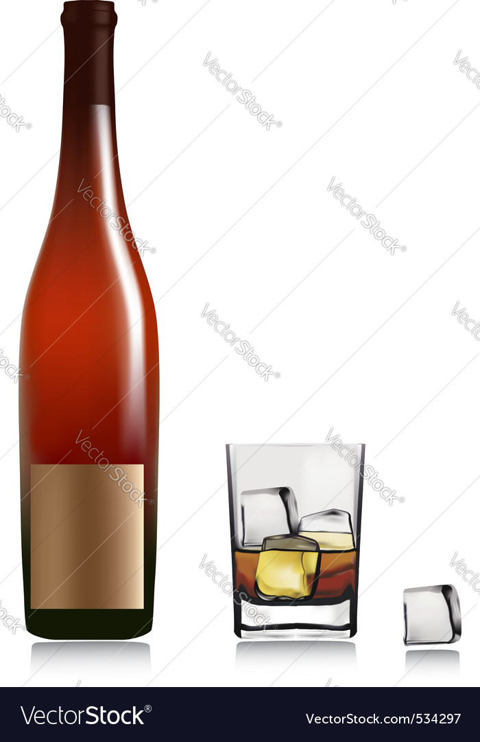 Bottle and glass with whiskey vector | Price: 1 Credit (USD $1)