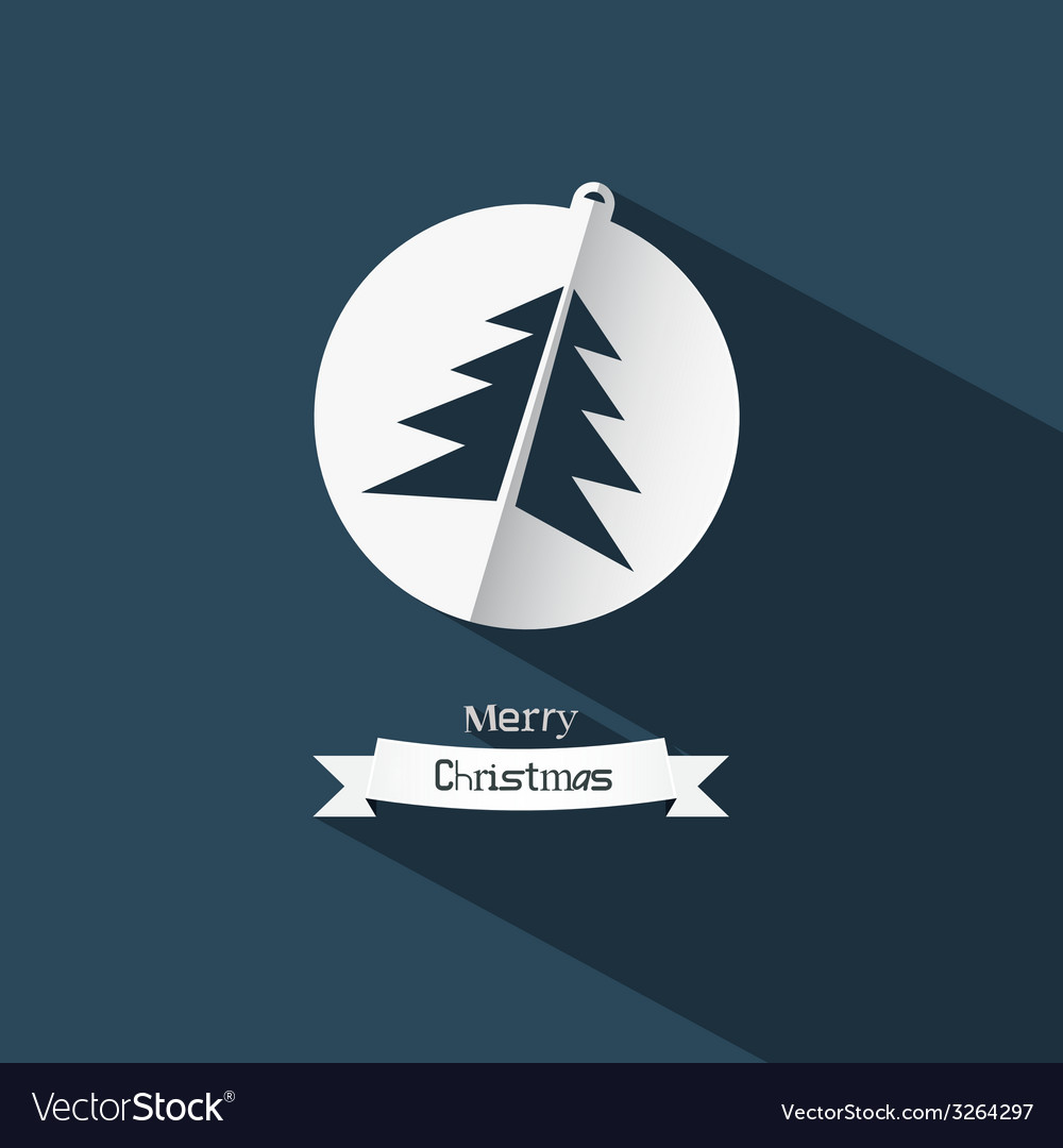 Christmas ball and tree made from paper on blue vector | Price: 1 Credit (USD $1)