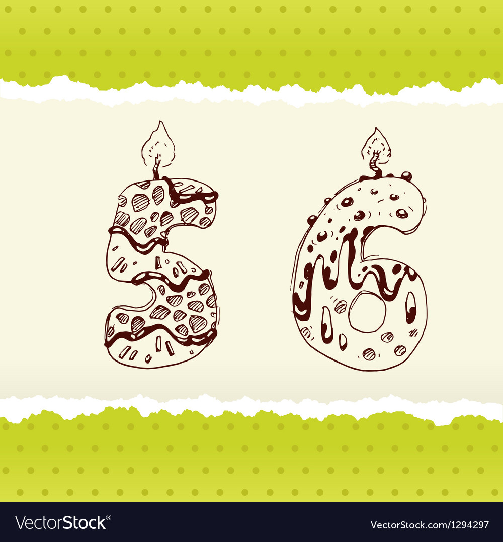Collection of birthday candles 5 and 6 vector | Price: 1 Credit (USD $1)