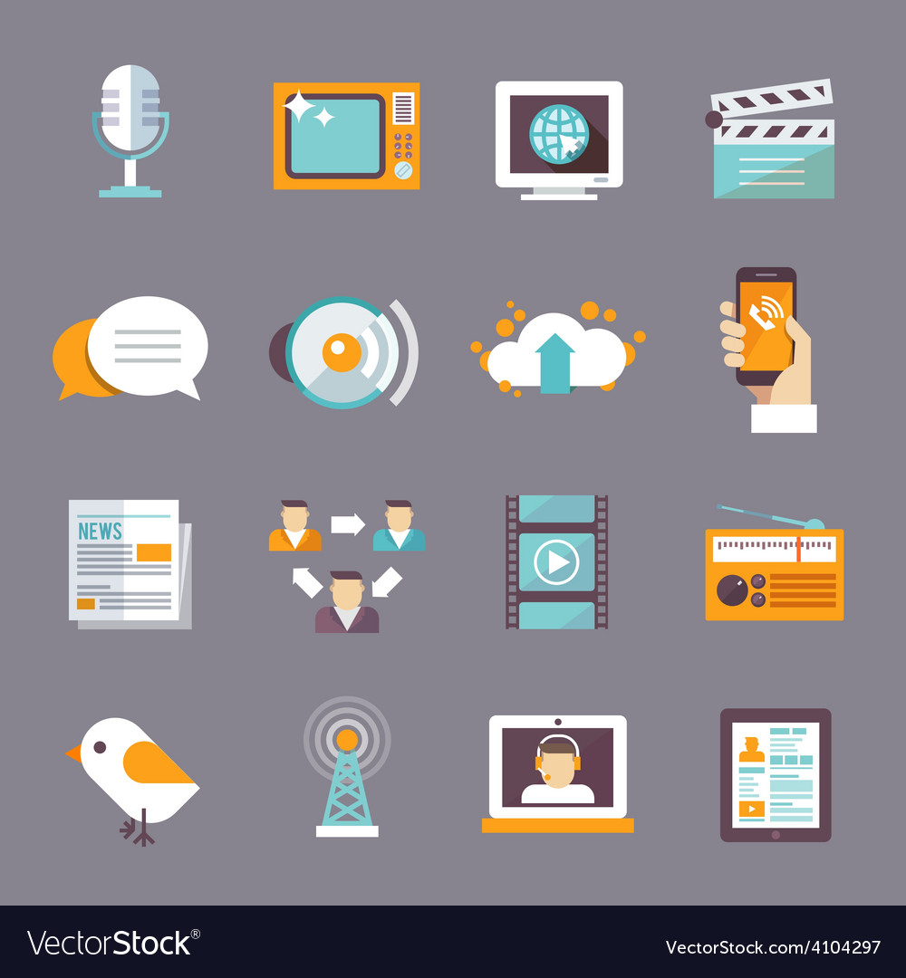 Media icon flat vector | Price: 1 Credit (USD $1)