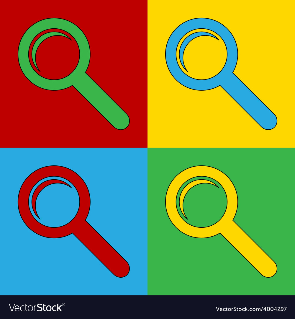 Pop art search icons vector | Price: 1 Credit (USD $1)