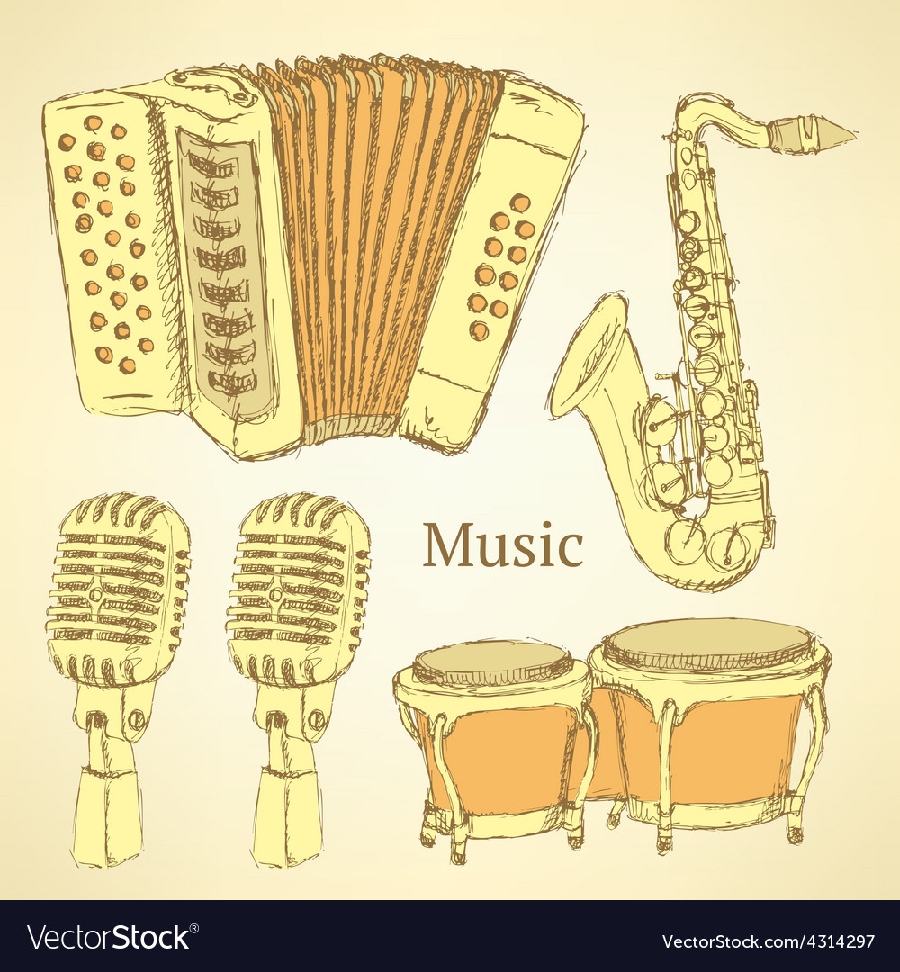 Sketch musical instrument in vintage style vector | Price: 1 Credit (USD $1)