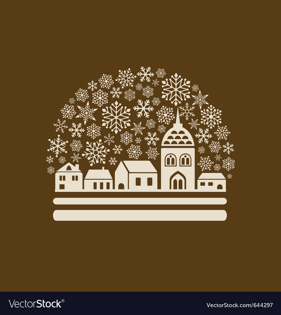 Snow globe town vector | Price: 1 Credit (USD $1)