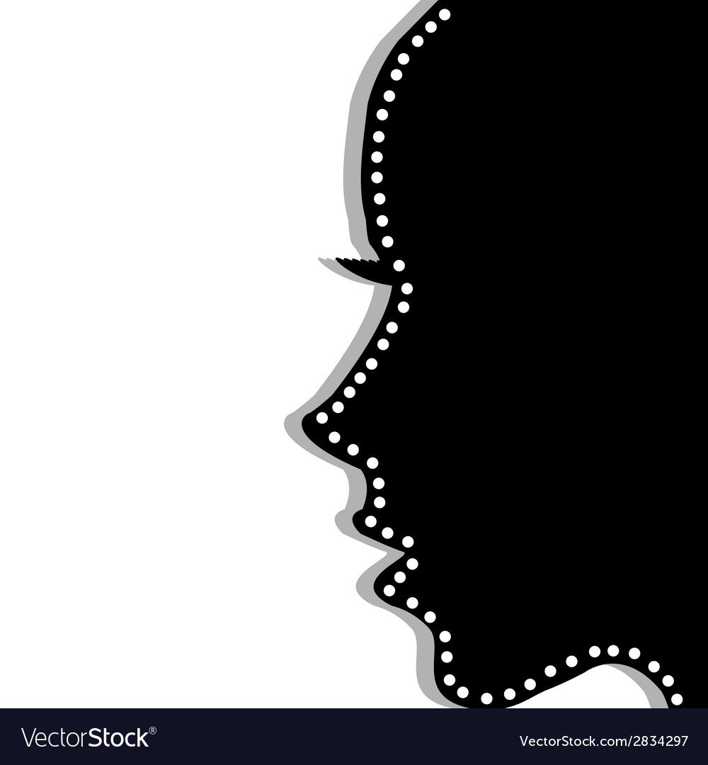 Stylized woman profile over white background vector | Price: 1 Credit (USD $1)