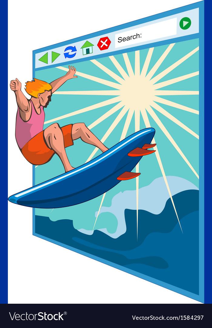 Surfer on net window vector