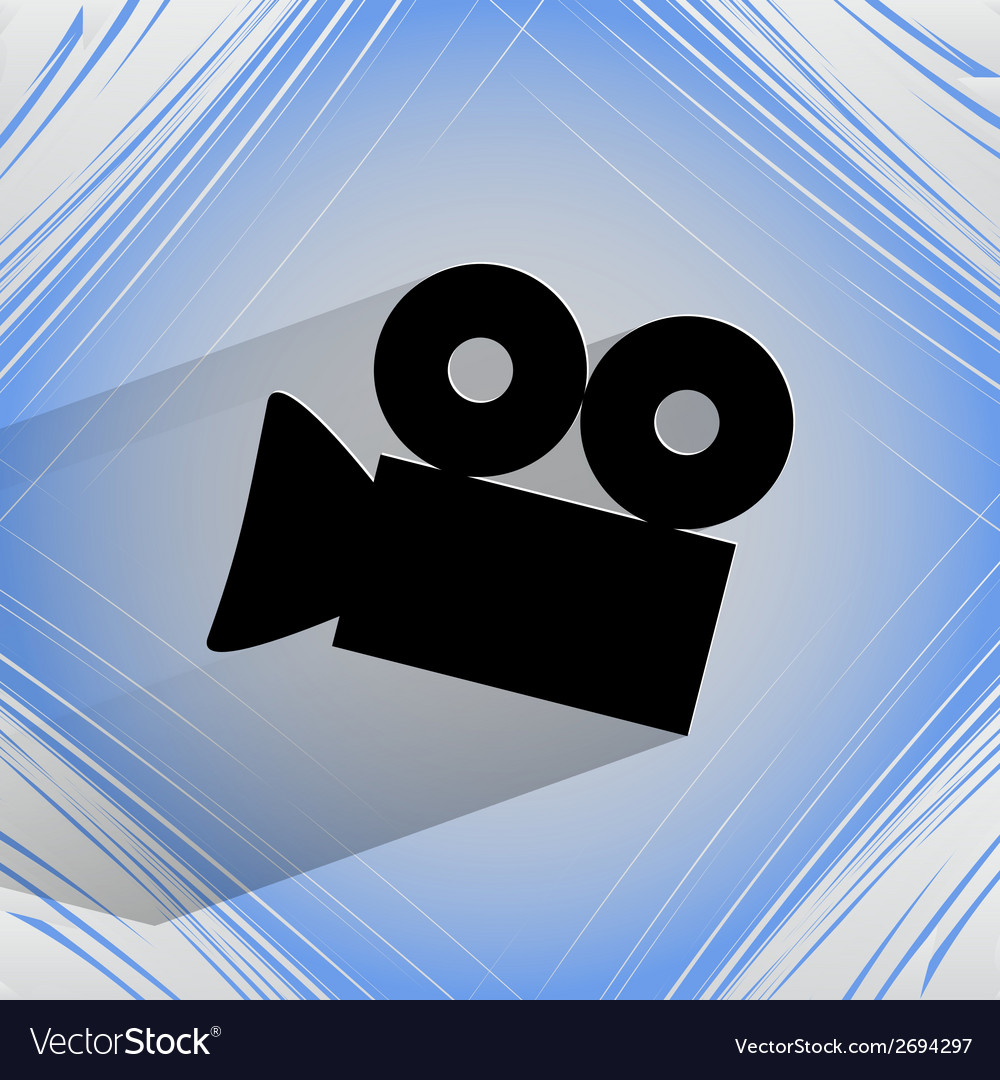 Video-camera flat modern web button on a flat vector | Price: 1 Credit (USD $1)
