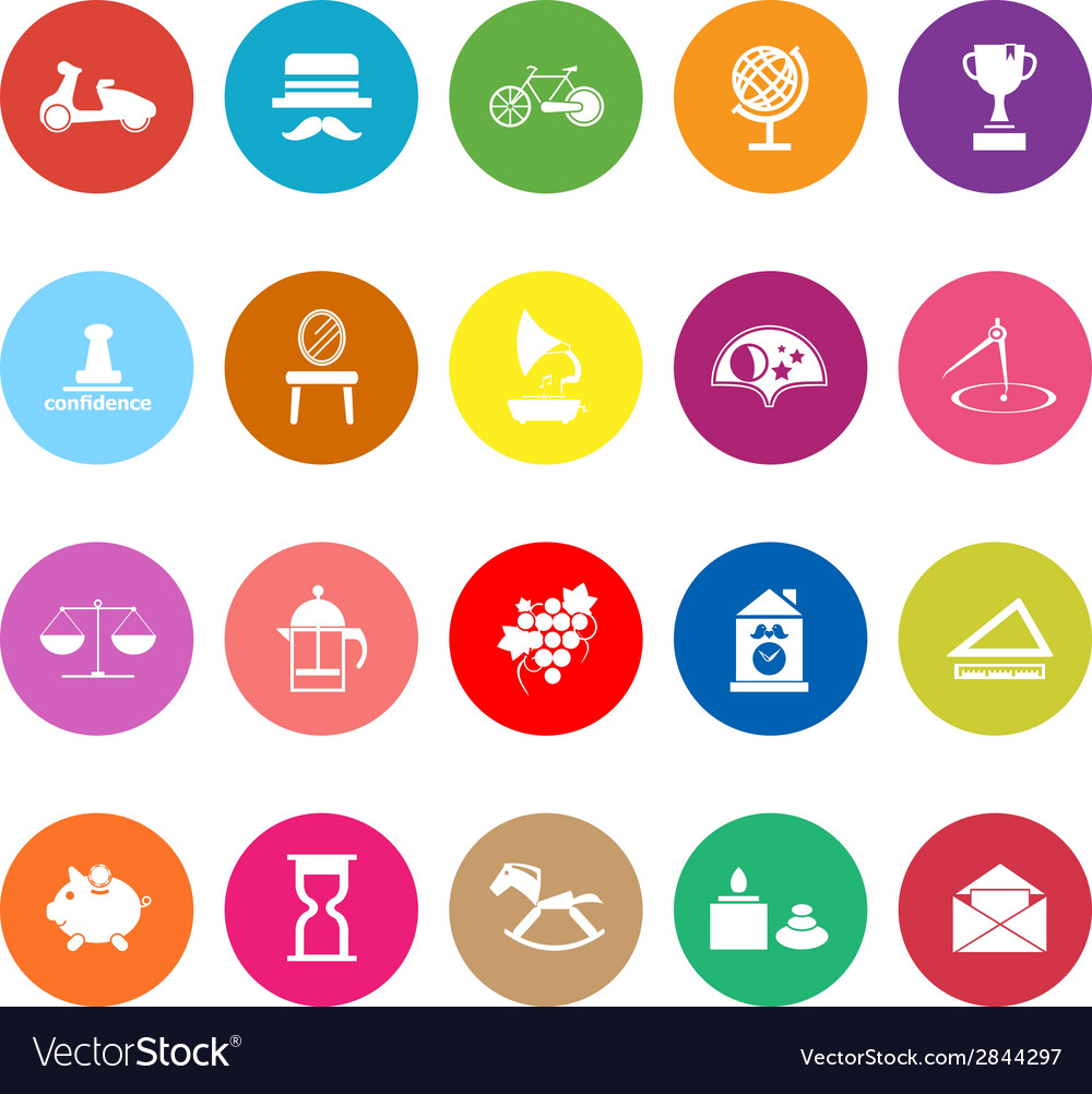 Vintage item flat icons on white background vector | Price: 1 Credit (USD $1)