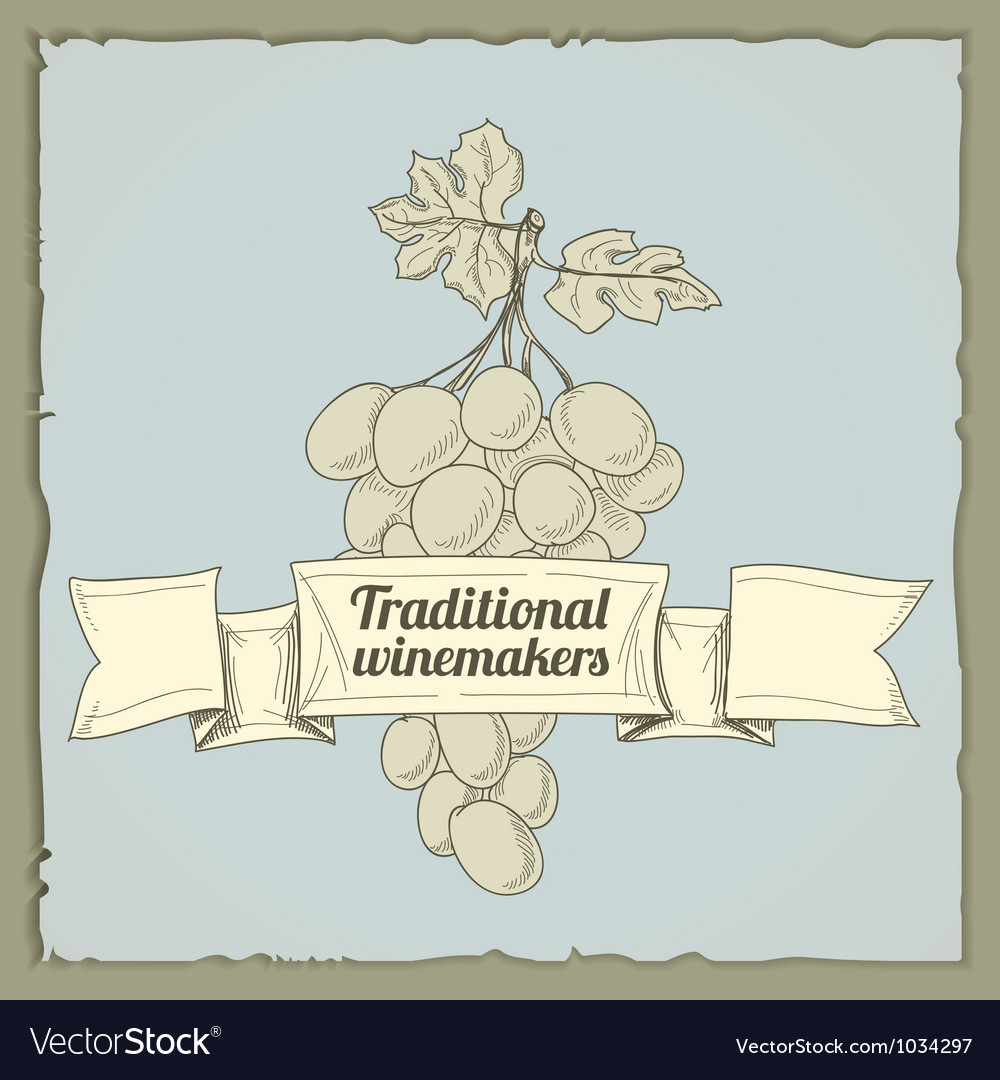 Vintage wine label with grapes vector | Price: 1 Credit (USD $1)