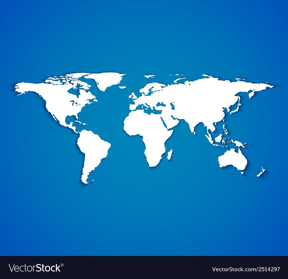 White world map with smooth shadows on blue vector | Price: 1 Credit (USD $1)