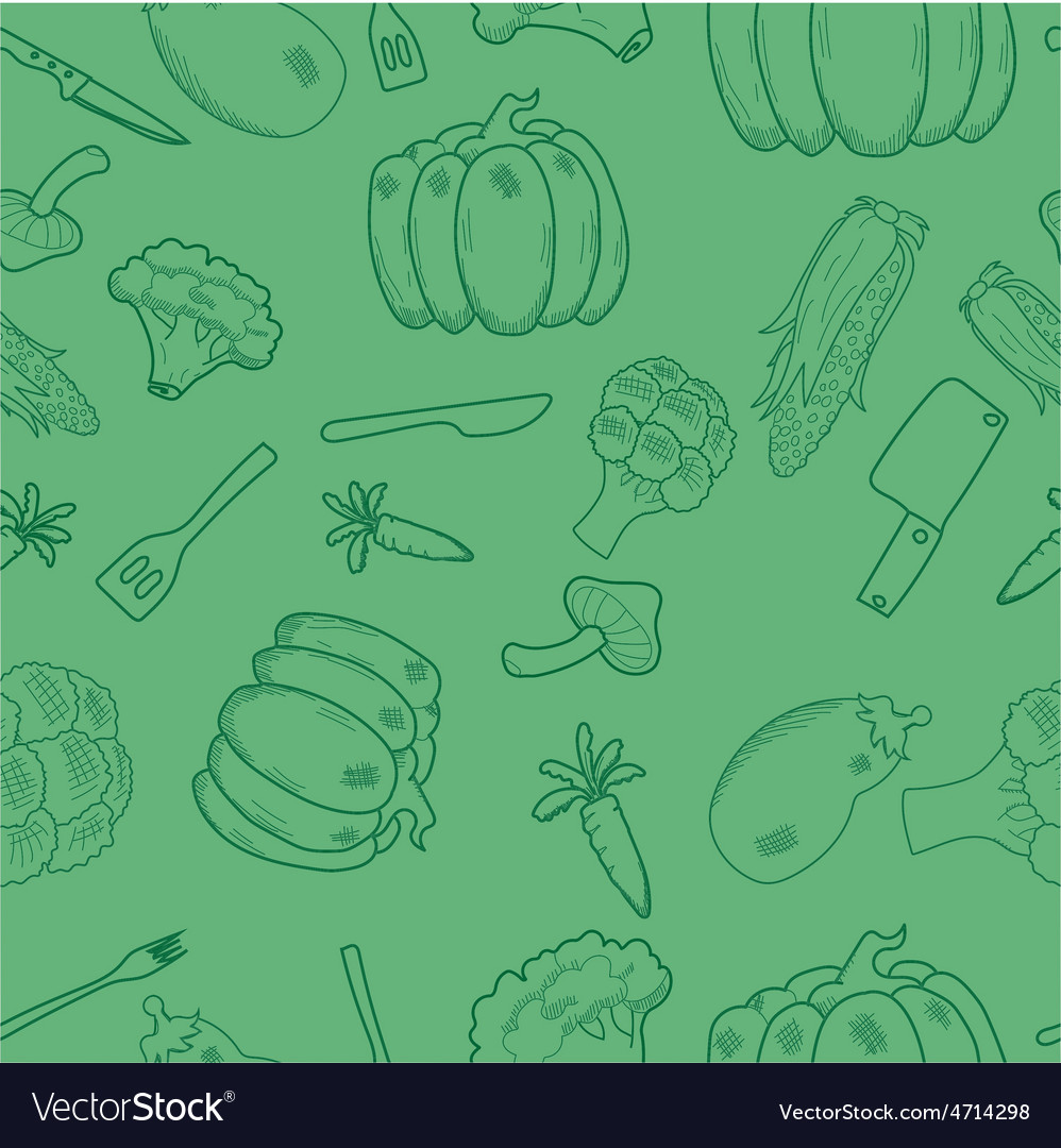 Assorted vegetables seamless pattern vector | Price: 1 Credit (USD $1)