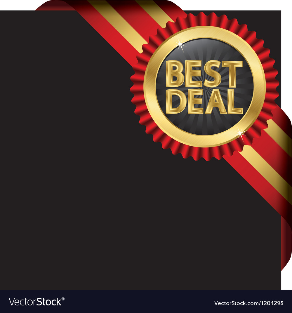 Best deal golden label with ribbons vector | Price: 3 Credit (USD $3)