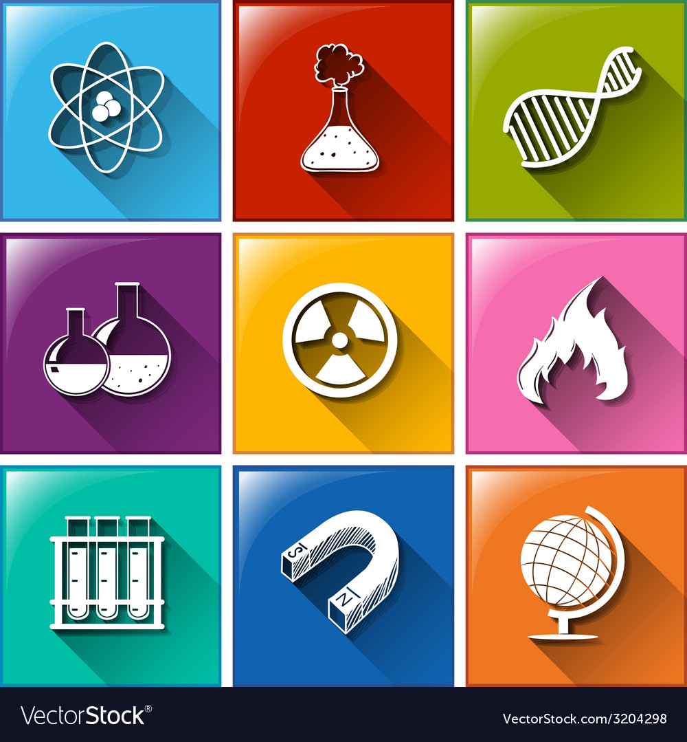 Buttons with science materials vector | Price: 1 Credit (USD $1)