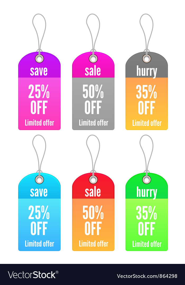 Colorful shopping tags set vector | Price: 1 Credit (USD $1)