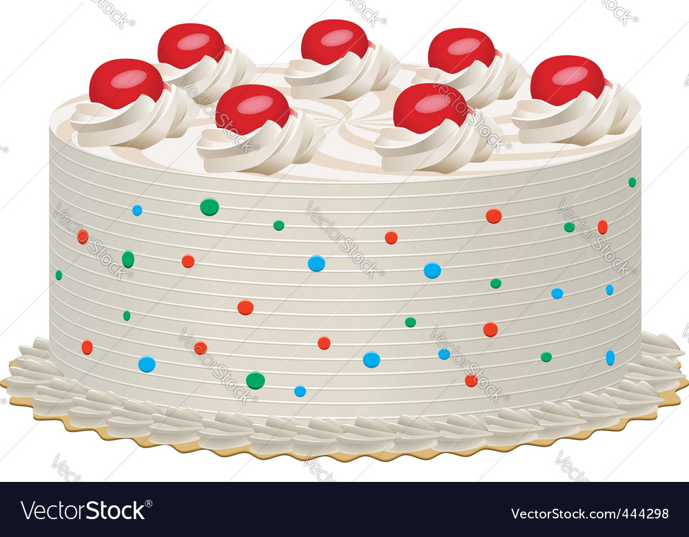 Cream cake with cherries vector | Price: 1 Credit (USD $1)